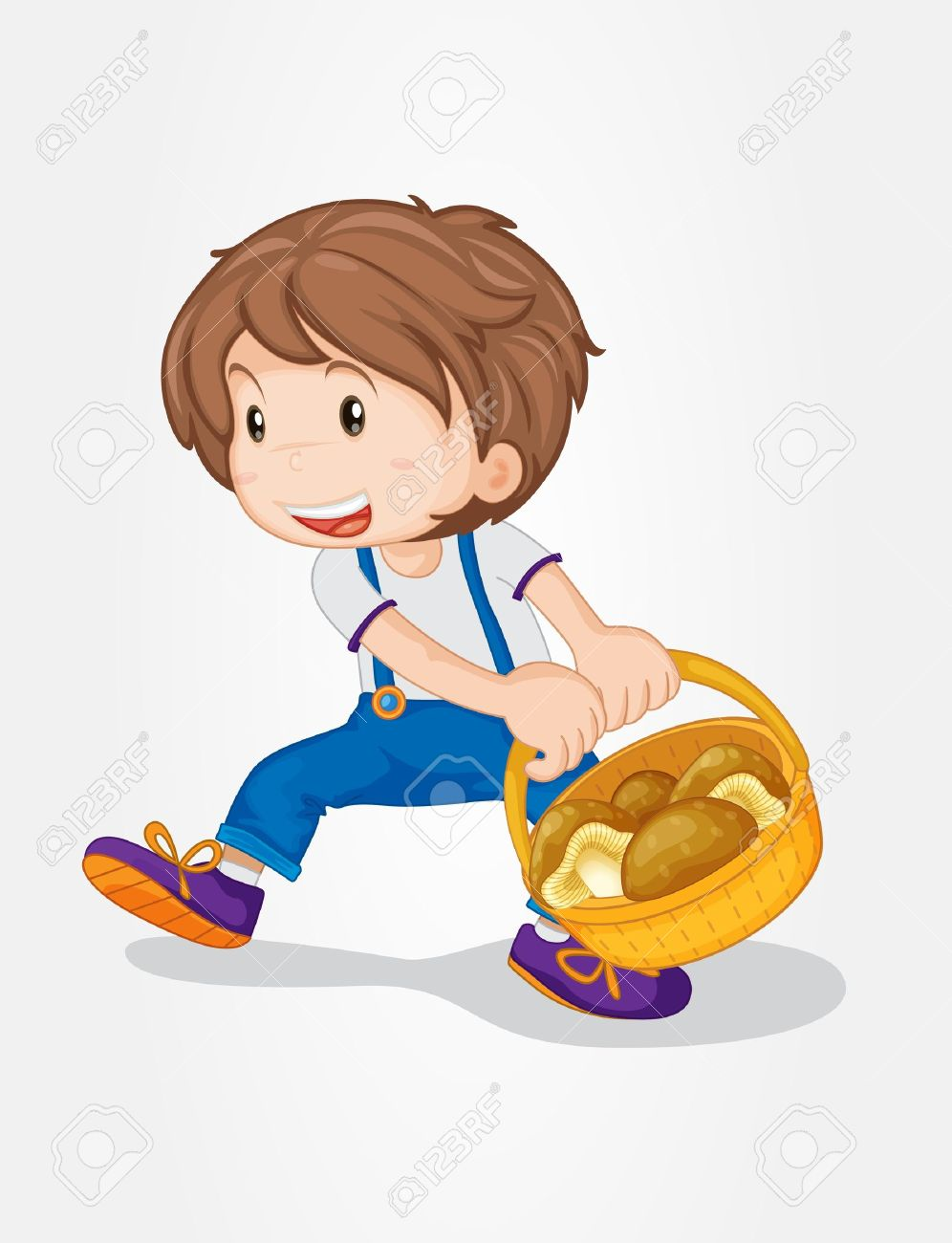 Illustration Of A Boy With A Basket Of Mushrooms Royalty Free.