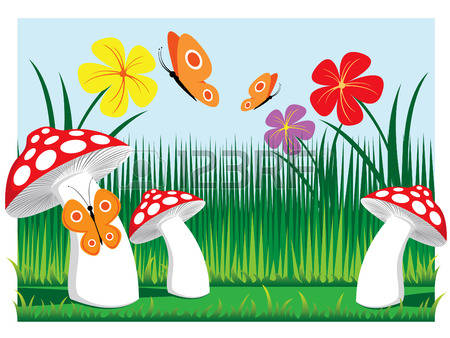 Meadow Mushrooms With Butterflies And Flowers Vector Illustration.
