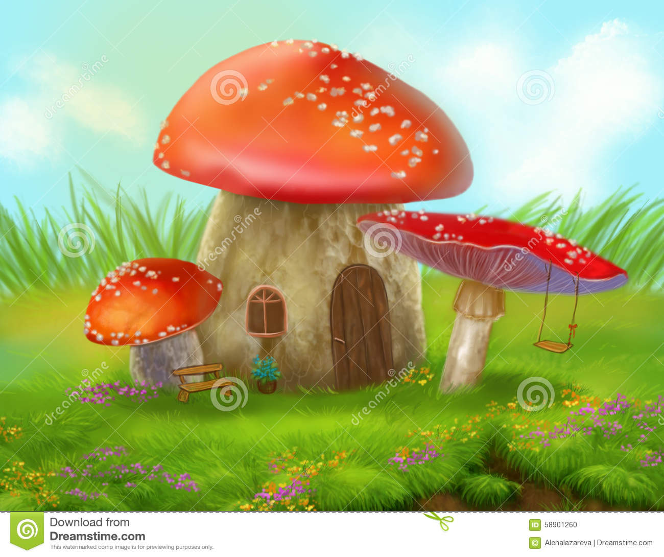 Fantasy Mushroom Cottage House On A Colorful Meadow Stock.