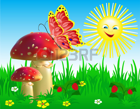 Summer Landscape With Mushrooms And A Butterfly. Royalty Free.