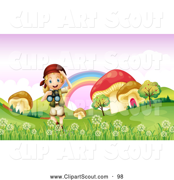 Clipart of a Scout Explorer Girl with Binoculars in a Meadow of.