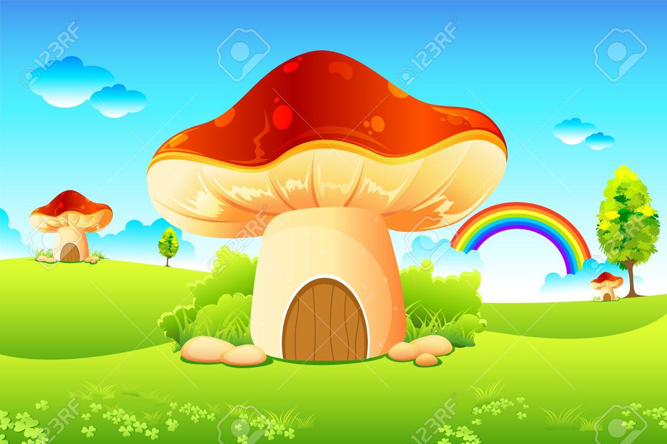 Illustration Of Mushroom Homes In Beautiful Meadow Royalty Free.