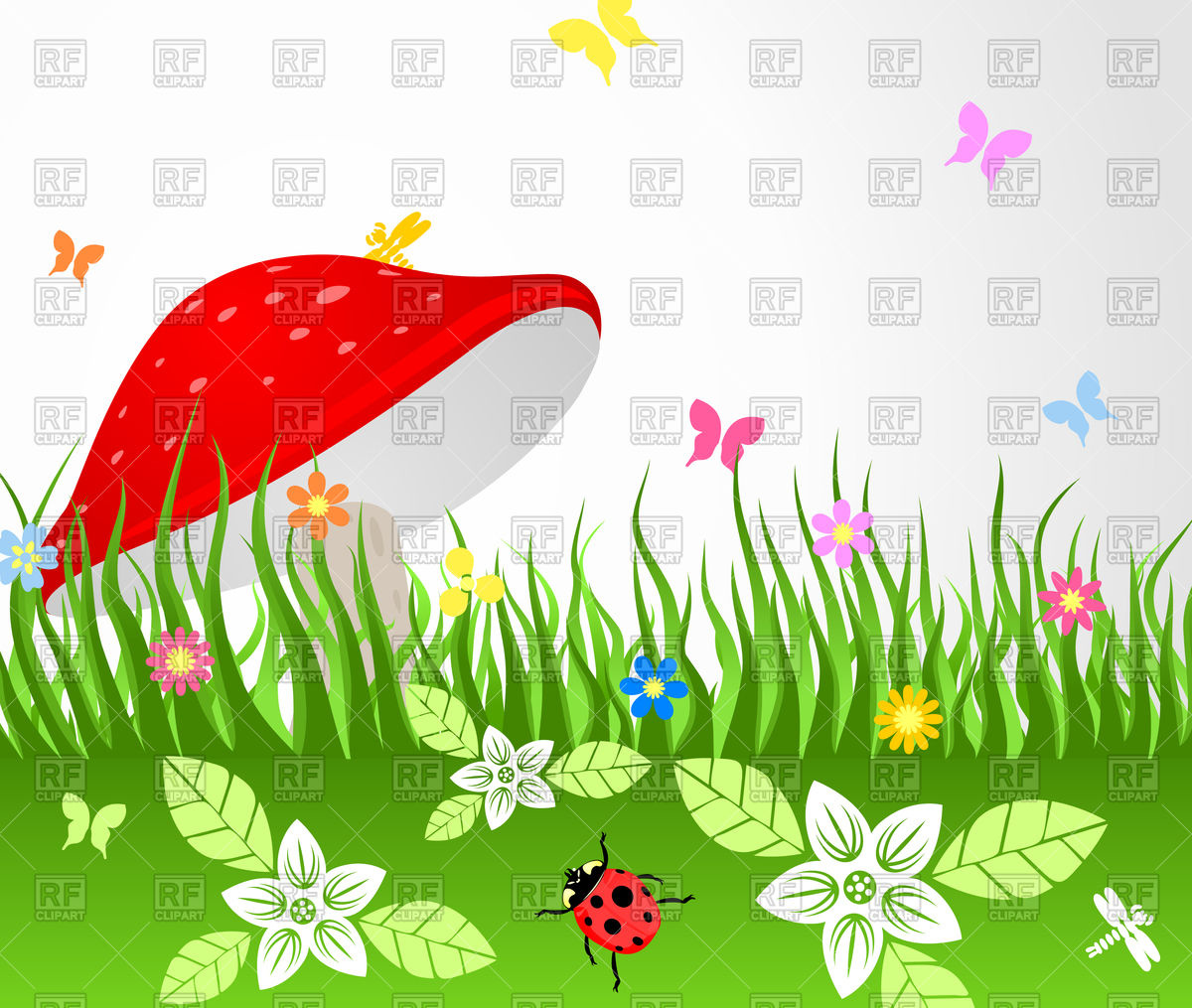 Meadow with red mushroom Vector Image #79099.