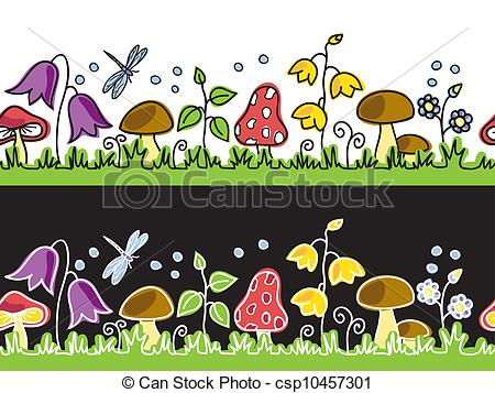 Vector Clipart of Summer flowers and mushrooms on meadow.
