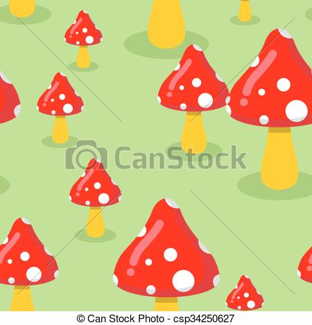 Vector Illustration of Amanita on meadow in forest seamless.