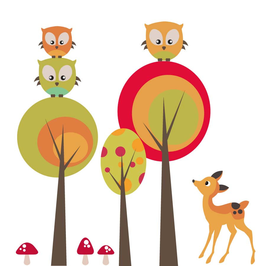 Woodland Tree And Mushrooms Clipart.