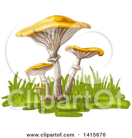 Clipart of White Spotted Mushrooms on a Tree Stump, with Flowers.