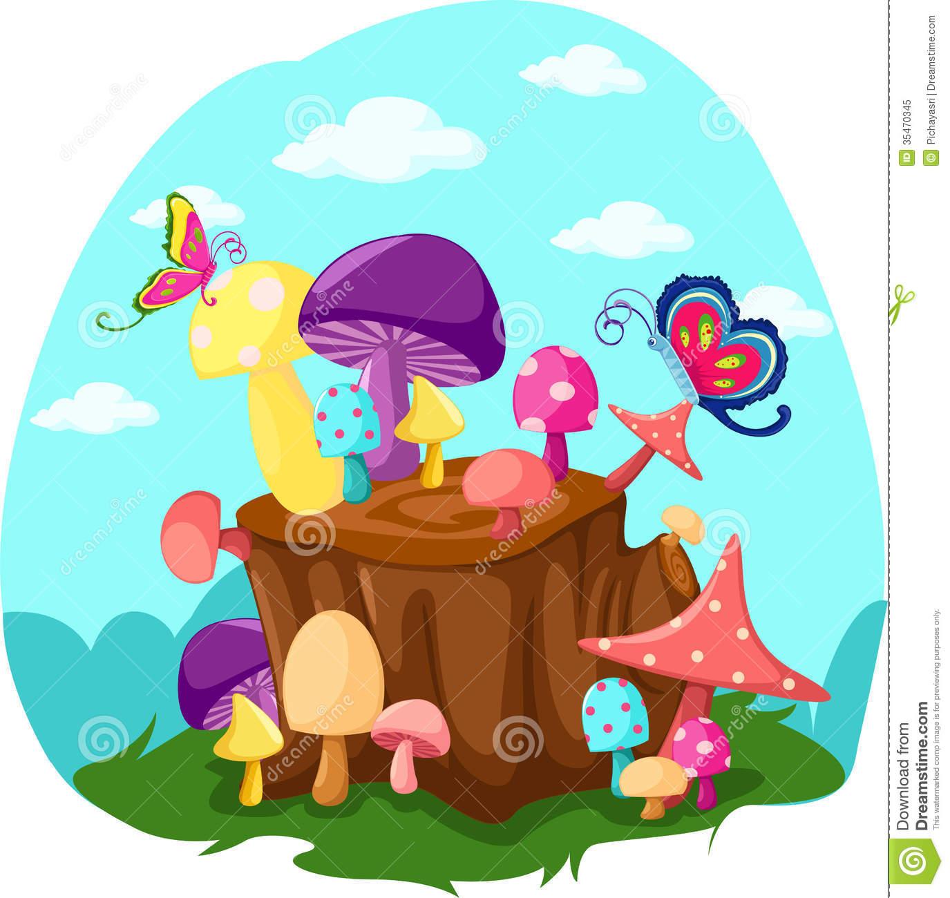 Mushroom tree stump clipart cartoon.