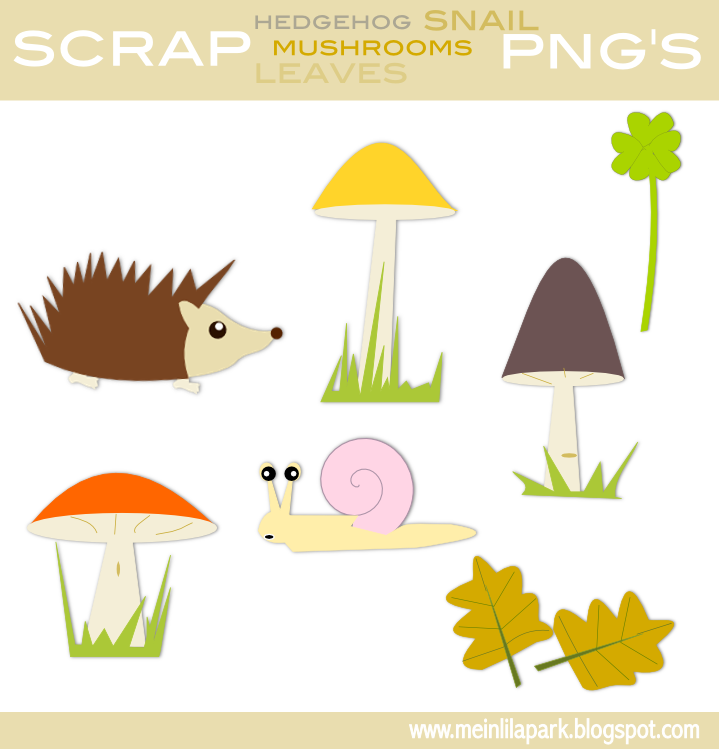 Woodland Tree And Mushrooms Clipart.