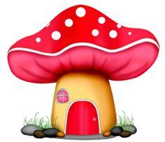 happy mushrooms clipart.