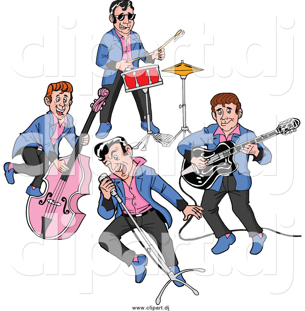 Cartoon Vector Clipart of a Rockabilly Music Band Singing and.