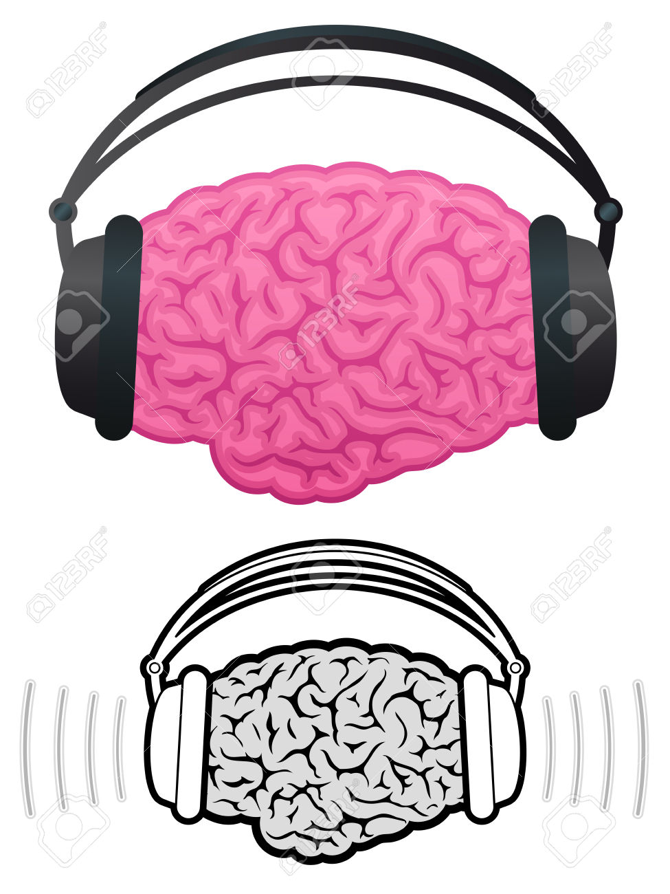 Brain With Headphones Listening To Music Royalty Free Cliparts.