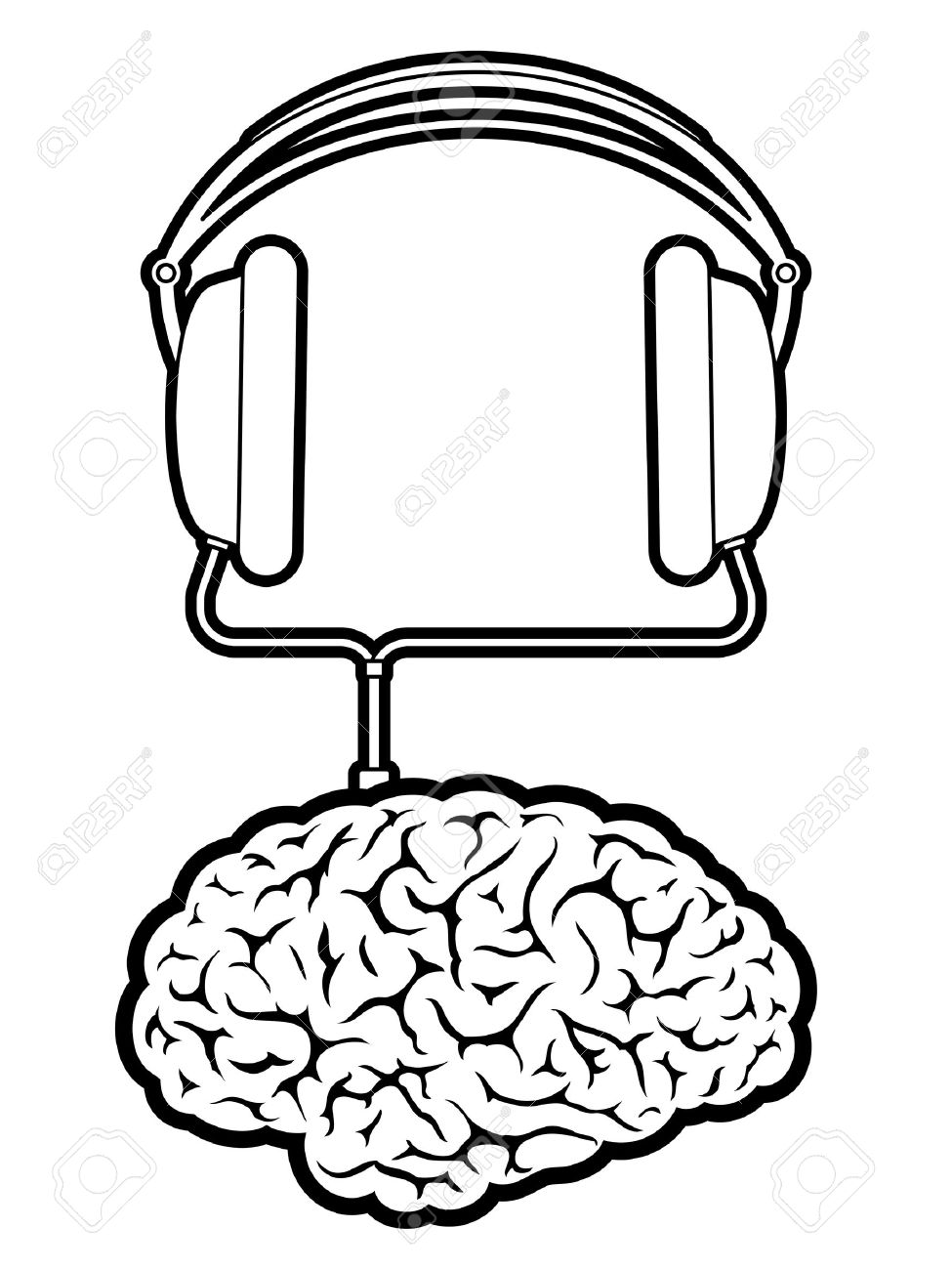 Brain Music Player With Headphones Royalty Free Cliparts, Vectors.