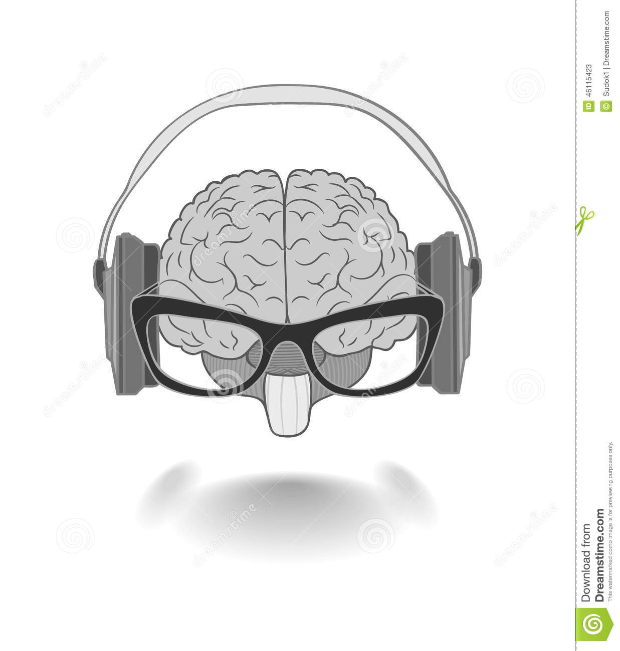 Concept Of The Human Brain With Glasses Enjoyer Music Stock.