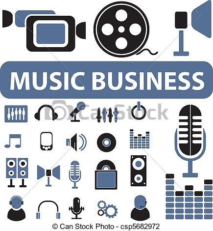 Vector Illustration of music business signs.