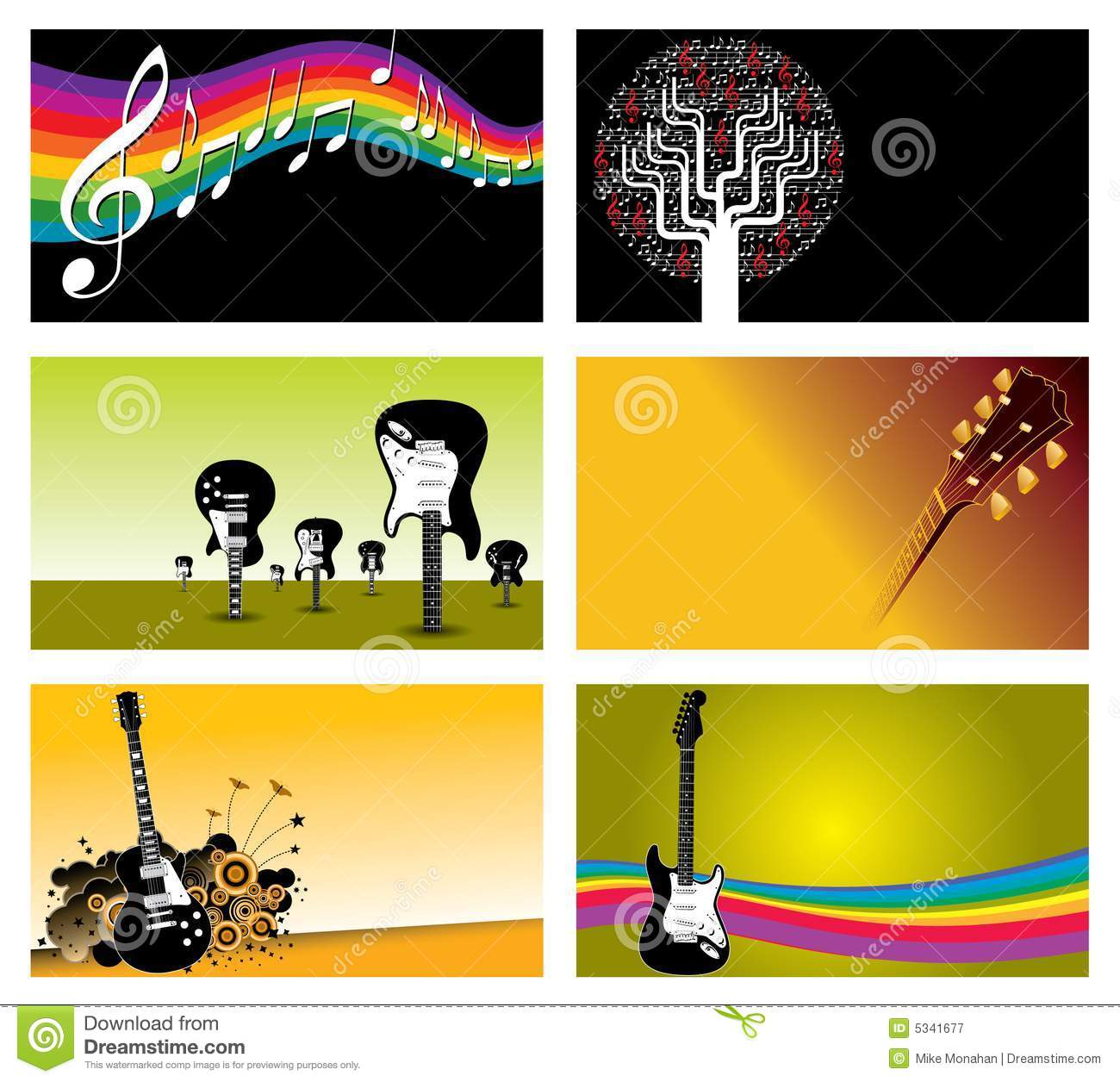 Set Of Music Business Cards Royalty Free Stock Photography.