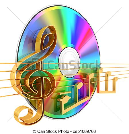 Stock Illustration of Music CD . 3d rendered illustration.
