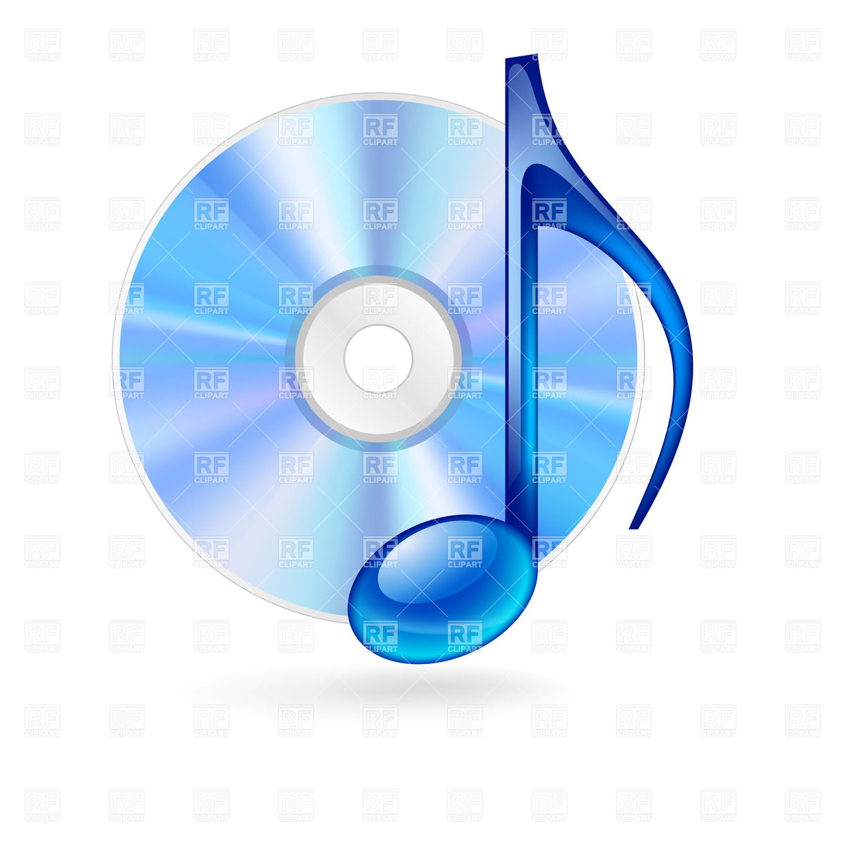 CD disc and blue musical note Vector Image #26802.