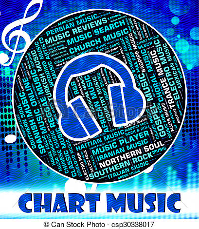 Clipart of Music Charts Represents Top Twenty And Harmonies.