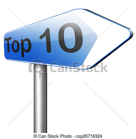 Clip Art of top 10 charts list pop poll result and award winners.
