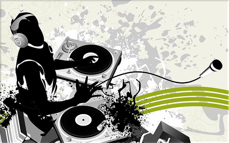 HD wallpaper: DJ clipart, music, selective coloring.