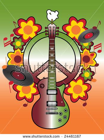 Celebrating 40th Anniversary Woodstock Music Art Stock Vector.