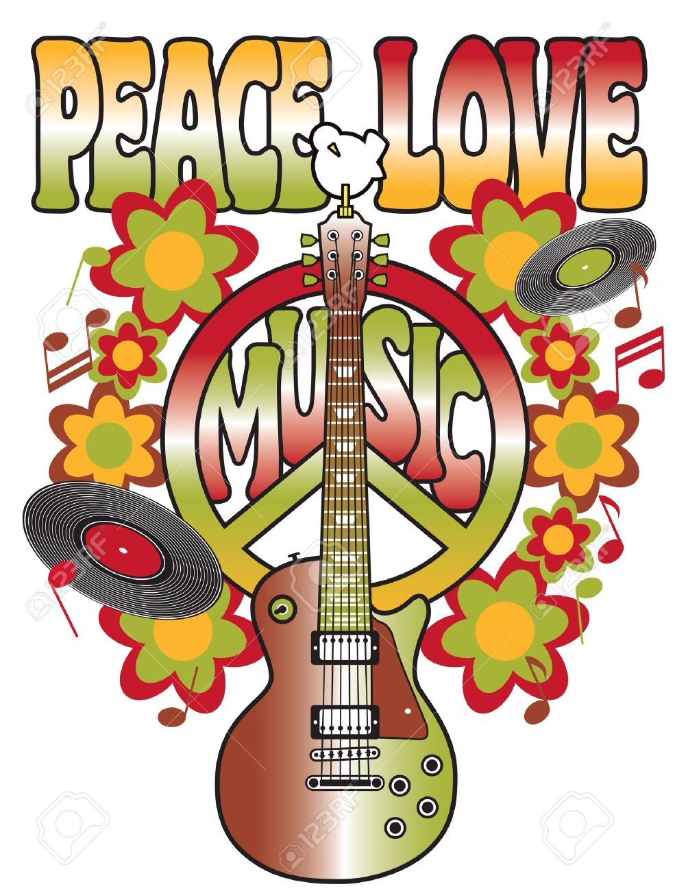 An Illustration Of A Guitar, Peace Symbol And Dove Dedicated.