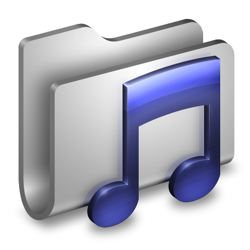 3D Music Folder White Icon, PNG ClipArt Image.