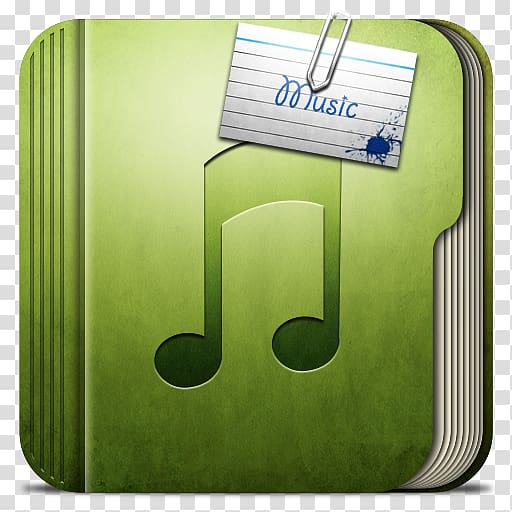 Green music book with name tag, green brand font, Folder.