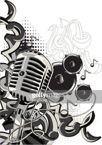 Music graffiti Clipart Image.