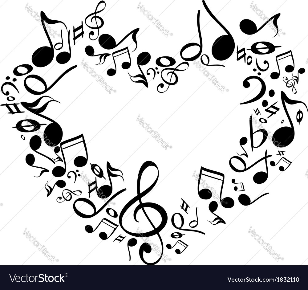 Music From Heart Sketch Vector Illustration.