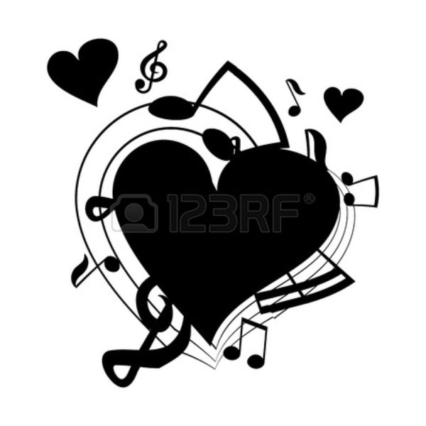 Free Music Notes Heart Clipart Image.