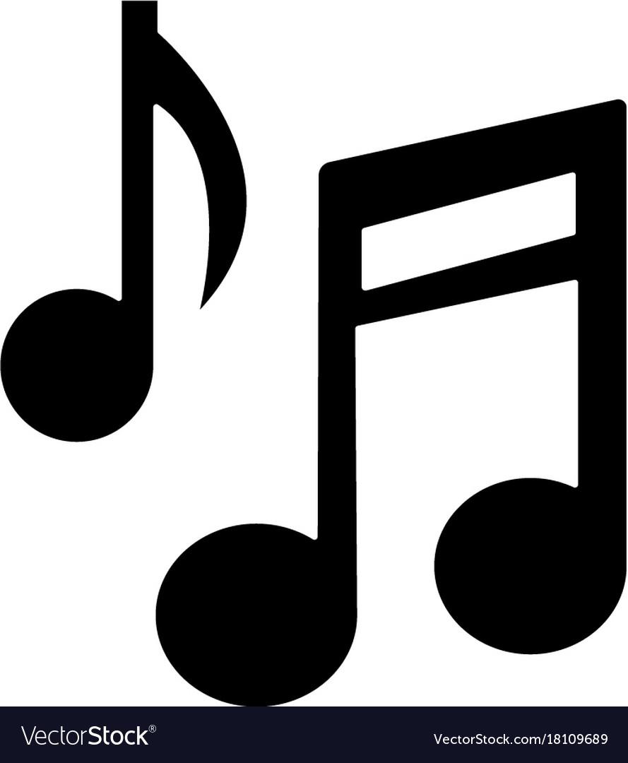 Music note base icon black.
