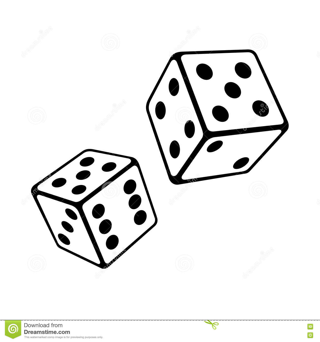 Two Dice Cubes On White Background. Vector Stock Vector.