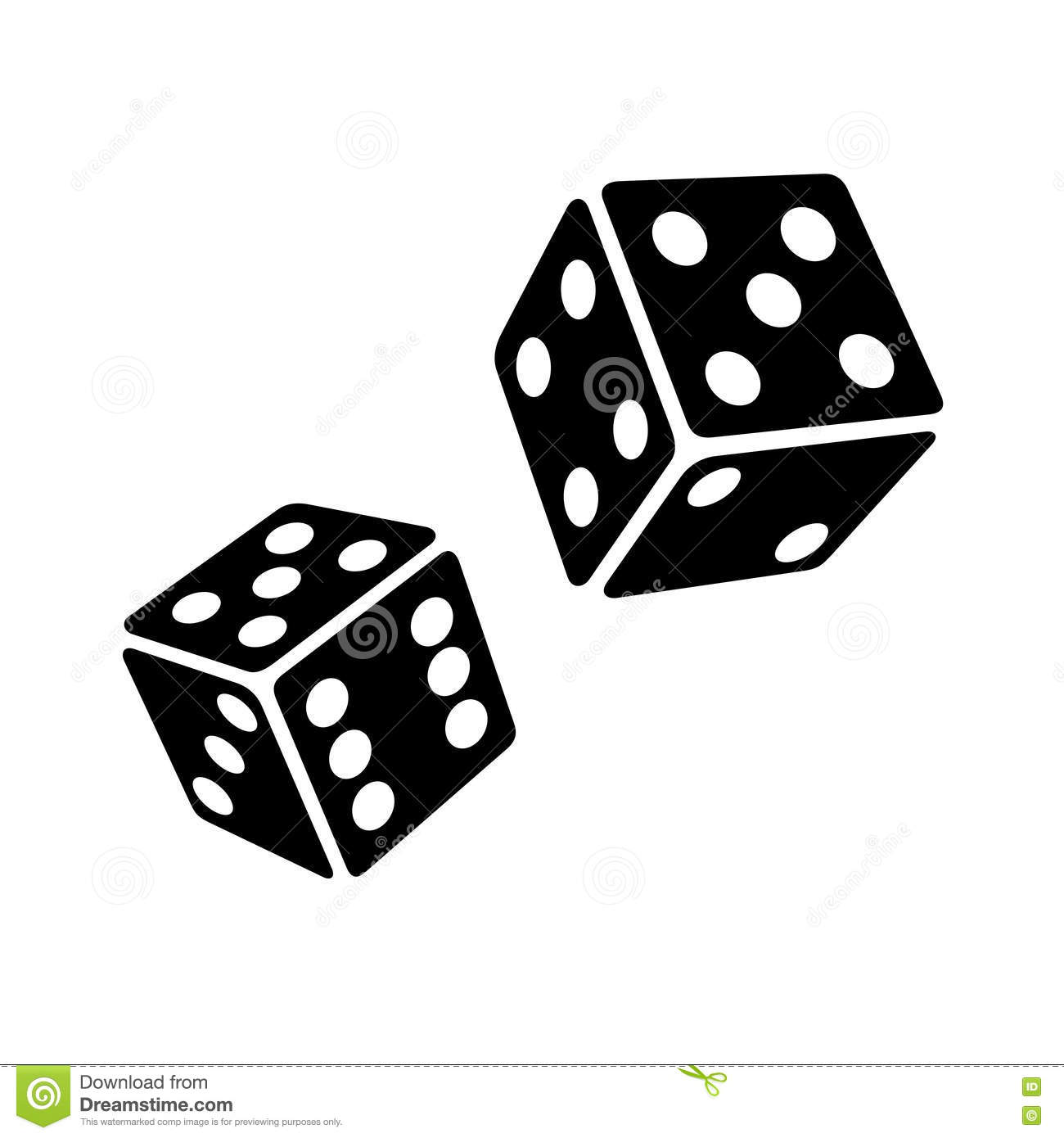 Two Black Dice Cubes On White Background. Vector Stock Vector.