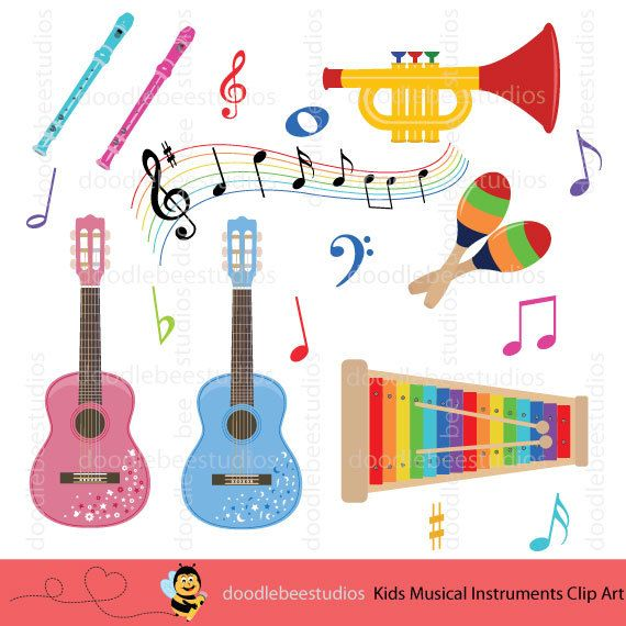 Colorful Musical Instruments Clipart, Kids Musical.
