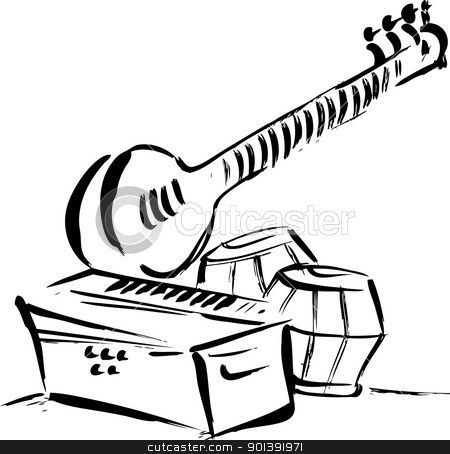 Indian music instruments clipart black and white 2 » Clipart.