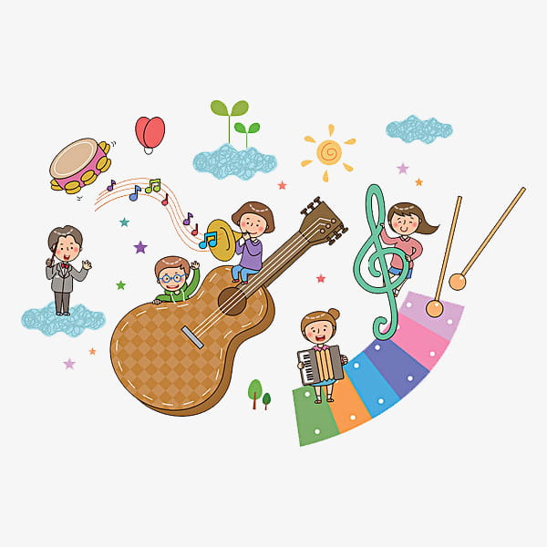 Music kids, brown guitar PNG clipart.