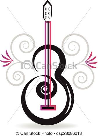 Vector Clip Art of Floral guitar music logo.
