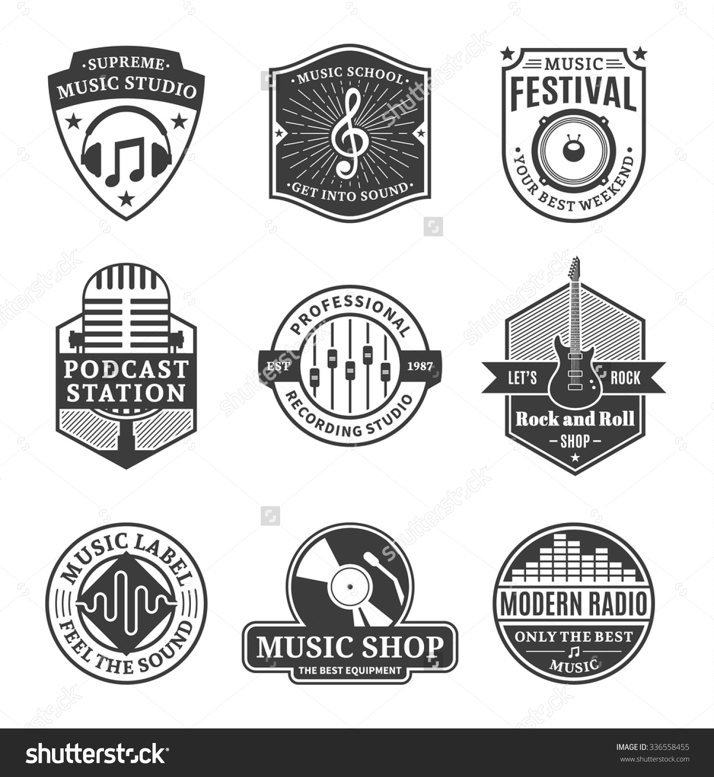 Set Vector Music Logo Music Studio Stock Vector 336558455.