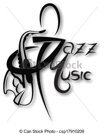 Vector Clipart of Music icon with jazz music inscription can be.