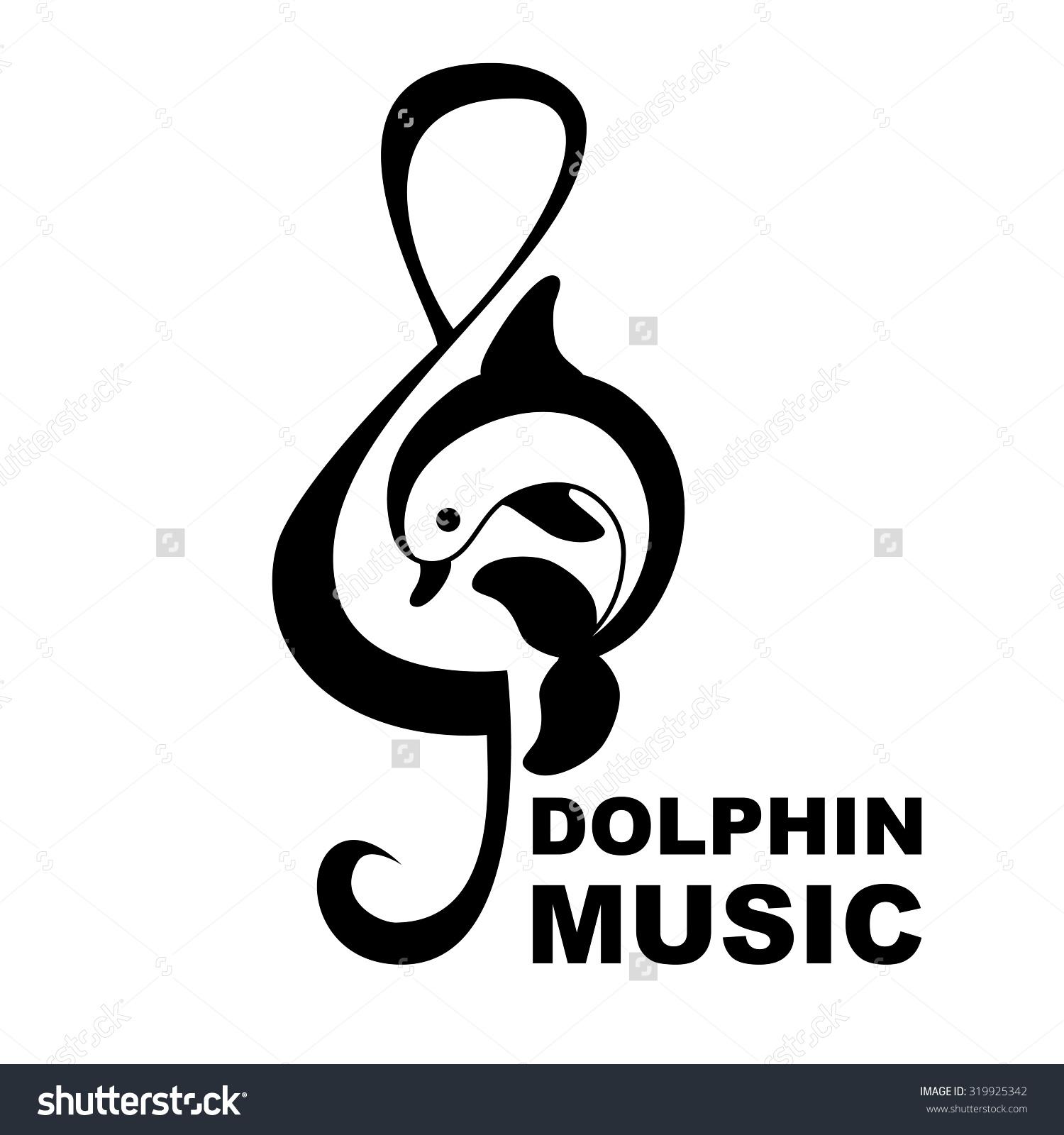 Dolphin Treble Clef Music Logo Vector Stock Vector 319925342.