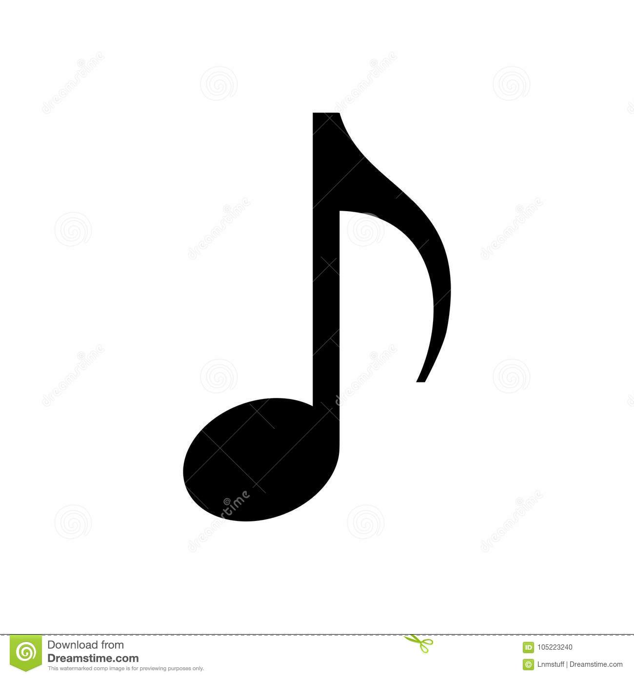 Music note isolated.