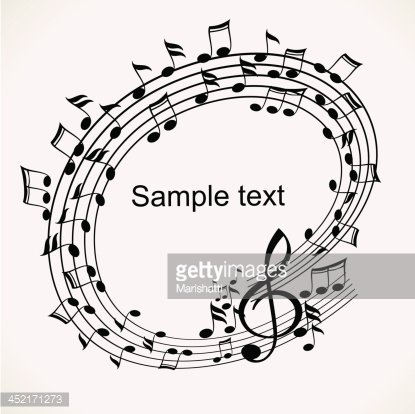 Banner of musical notes. Sample text Clipart Image.