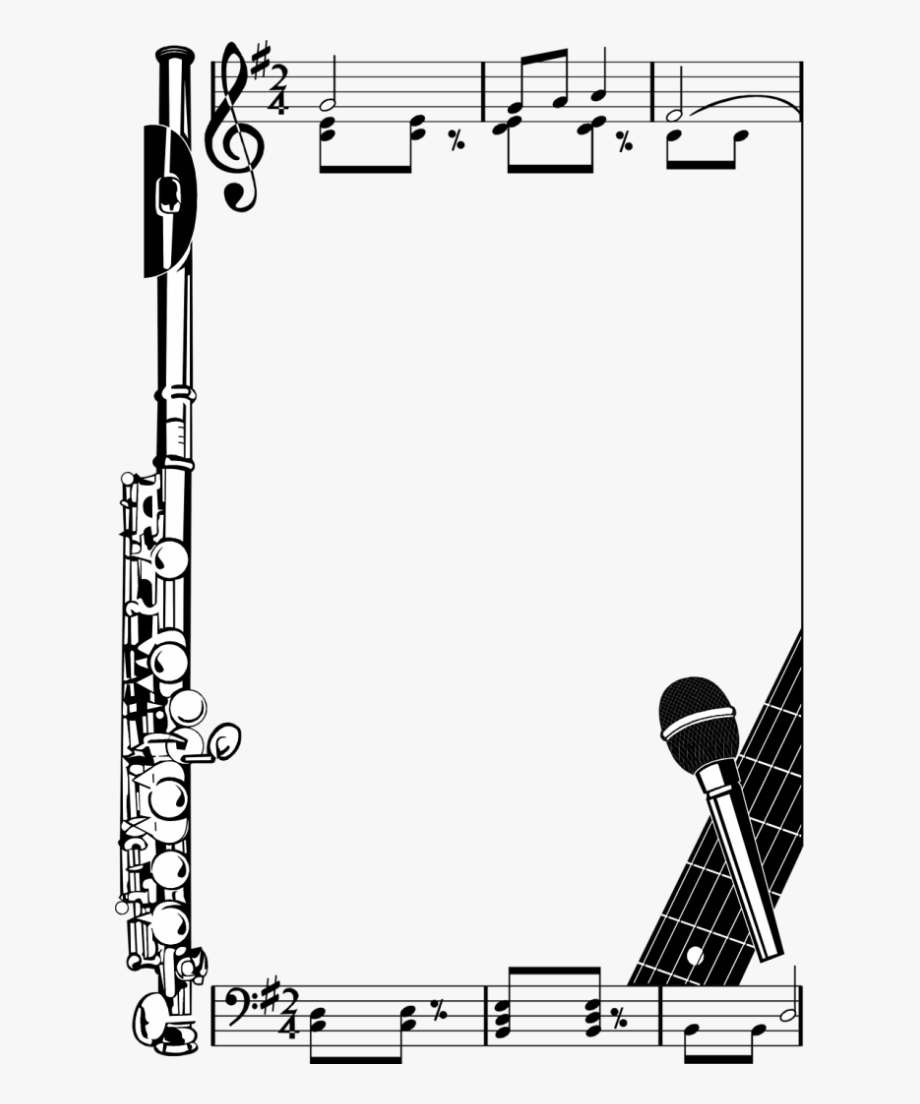 Music Notes Borders Png Illustration Of A Frame Clipart.