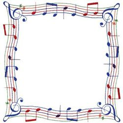 Music Note Border Embroidery Design.