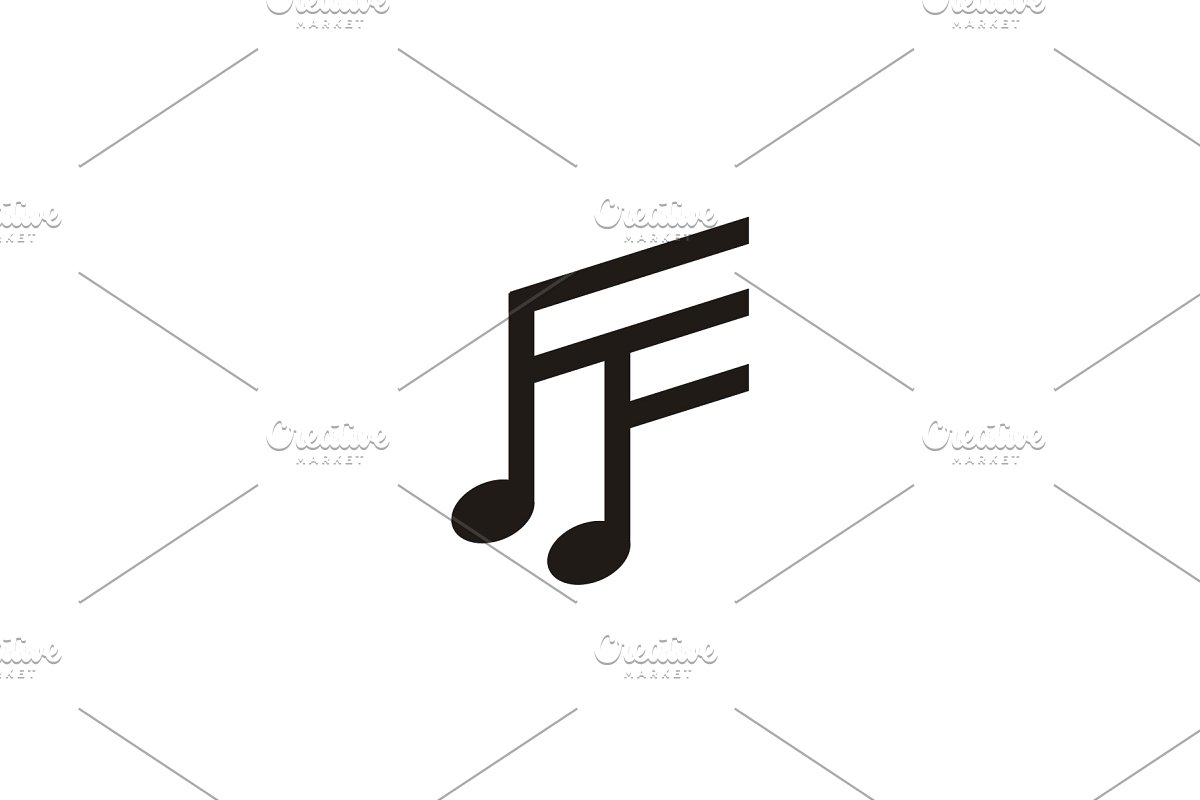 Initial FF Music Notes logo design.