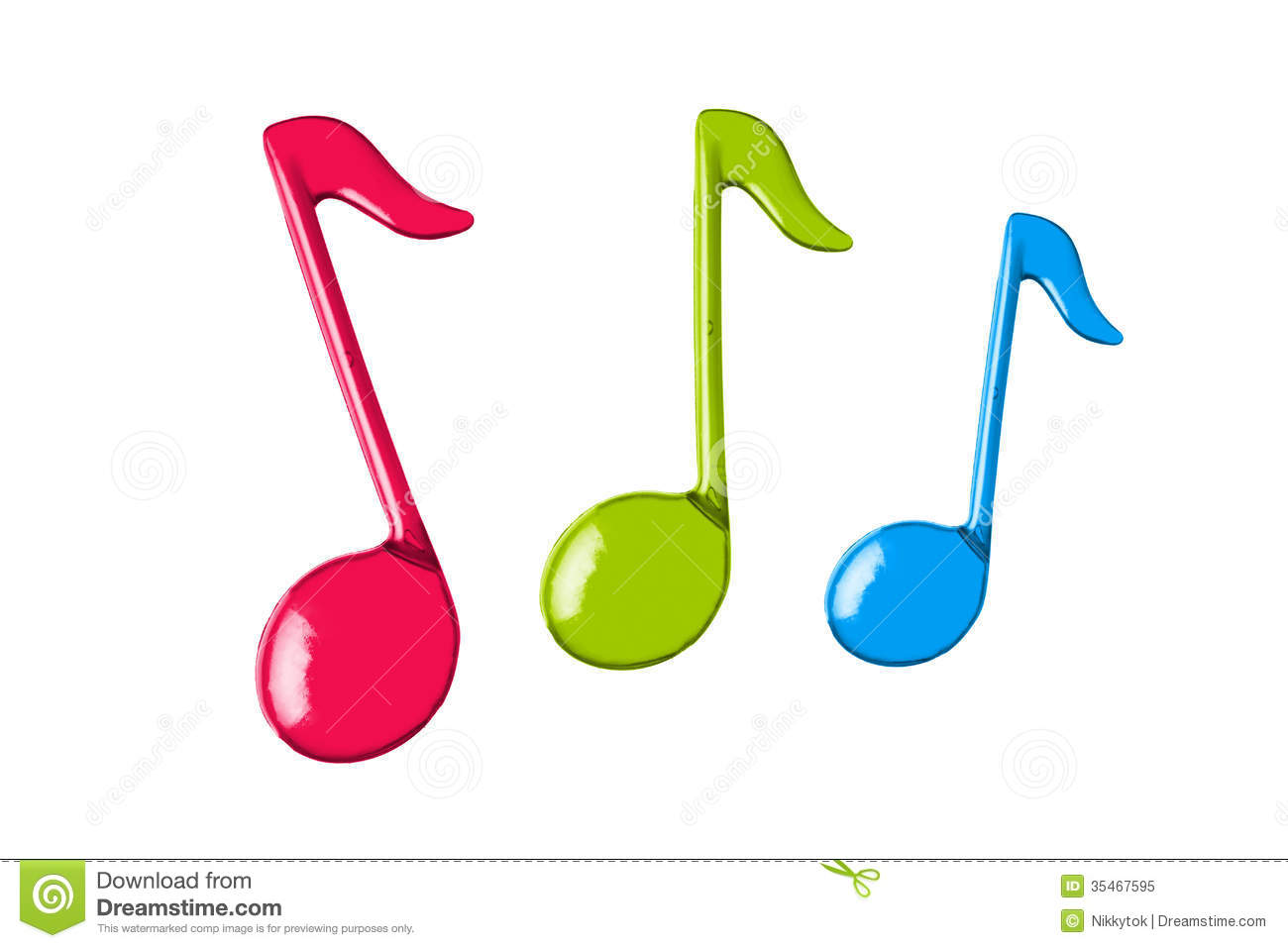 Three Color Music Notes Royalty Free Stock Photo.