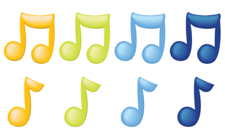 Vector Music Notes in Color, Clipart.