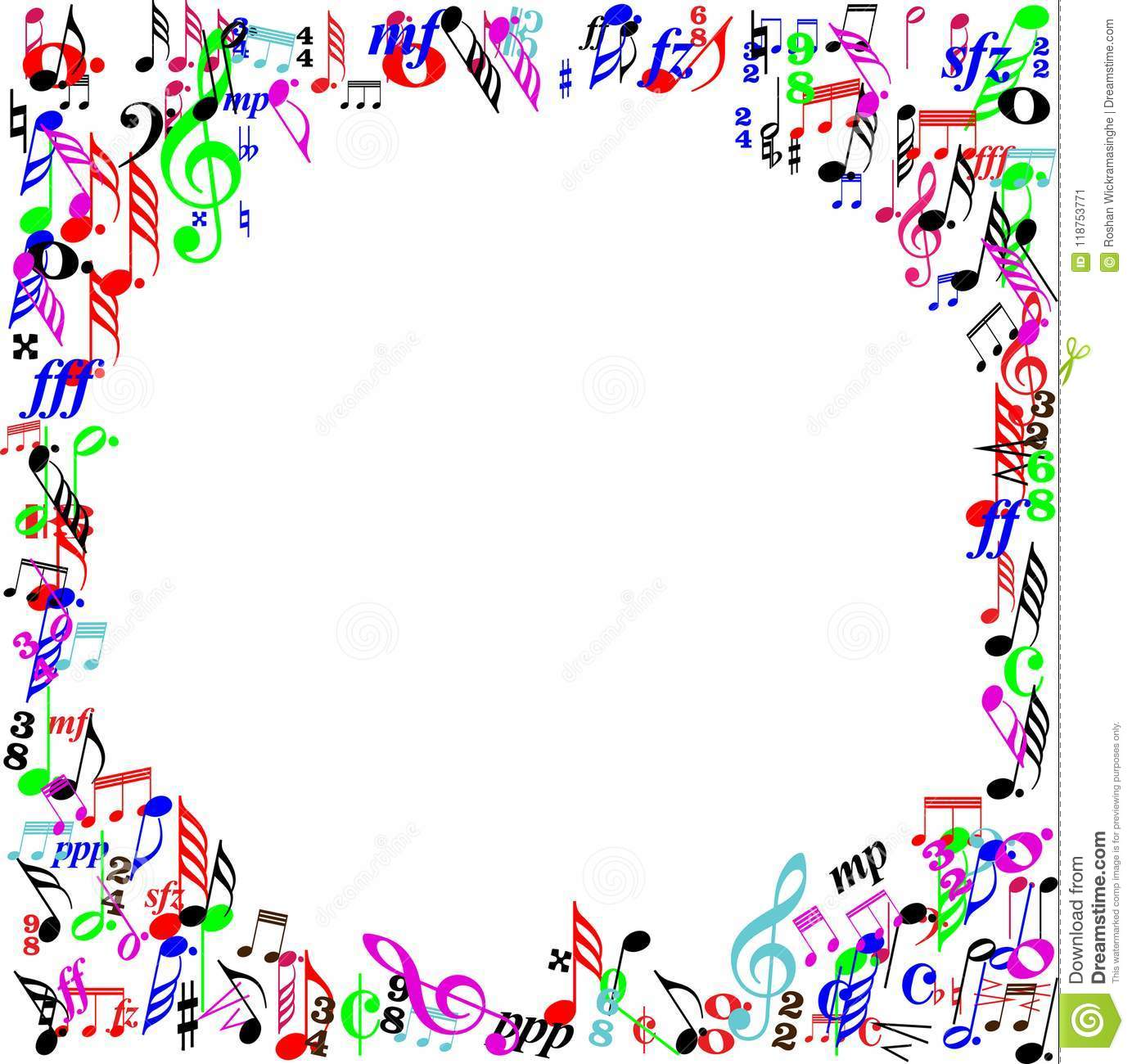 Color Music Sign Page Border Stock Vector.